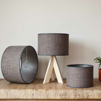Cilinder lampshades in raw linnen, color Imperial Cedar