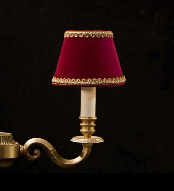 Klassieke Fluwelen Kroonluchter Lampenkappen met galon - Kleur Rood met Gouden Lezard