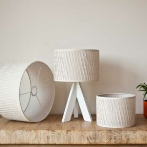 Cilinder lampshades 'Modena fabric' pleated in a specific patern, light sandstone color