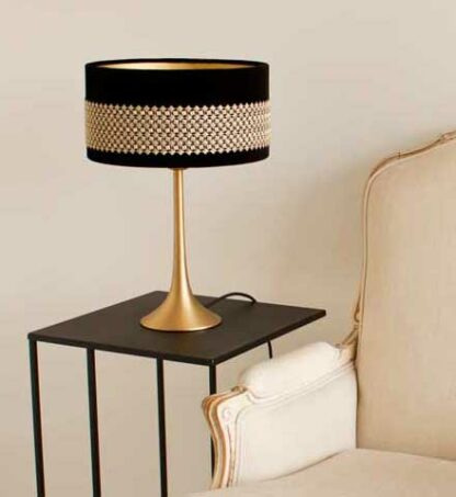Detail of Philly model with black velvet lampshade and Houlès Galon