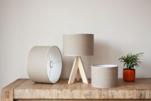 Cilinder lampshades in linen, color Burlywood Beige