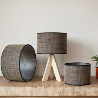 Cilinder lampshades in raw heavy linnen, color Sierra Dark Brown