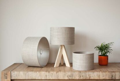 Cilinder lampshades in raw heavy linnen, color Sierra Light Beige