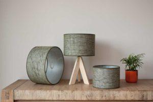 Cilinder lampshades in raw heavy linnen, color Sierra Forestgreen