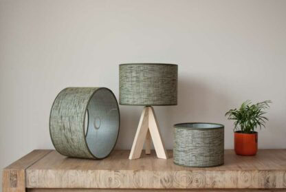 Cilinder lampshades in raw heavy linnen, color Sierra Forestgreen