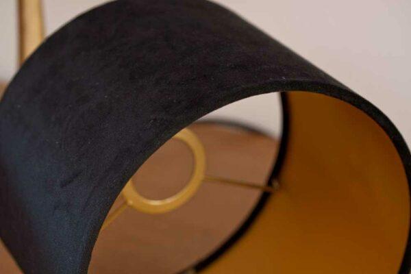 Detail of Velvet Cylinder Lampshades color Royal Black