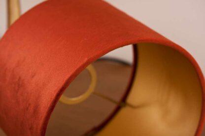 Detail of Velvet Cylinder Lampshades color Royal Brique