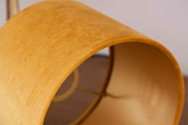 Detail of Velvet Cylinder Lampshades color Royal Ocre