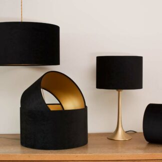 Velvet Cylinder Lampshades color Royal Black
