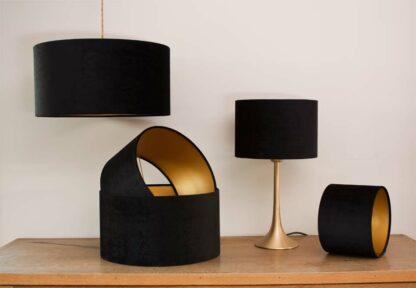 Velvet Cylinder Lampshades color Royal Black