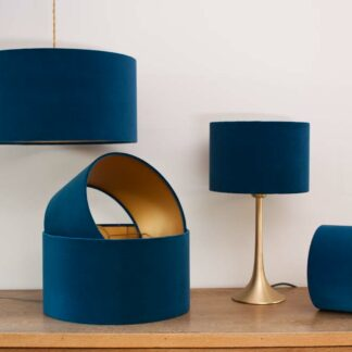 Velvet Cylinder Lampshades color Royal Blue
