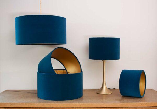 Fluwelen cilinder lampenkappen, kleur koninklijk blauw