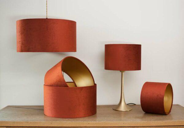 Fluwelen cilinder lampenkappen, kleur Brique