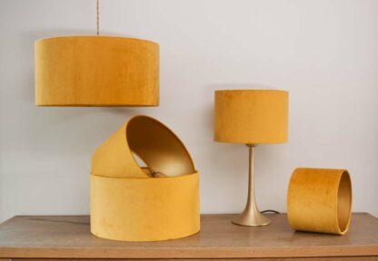 Velvet Cylinder Lampshades color Ocre