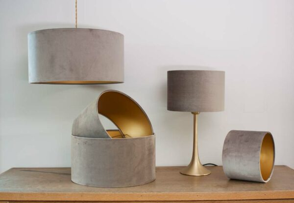 Velvet Cylinder Lampshades color Taupe