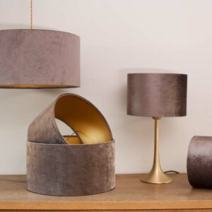 Velvet Cylinder Lampshades color Shiny Chocolate