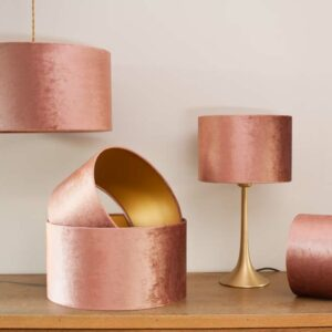 Velvet Cylinder Lampshades color Old Rose