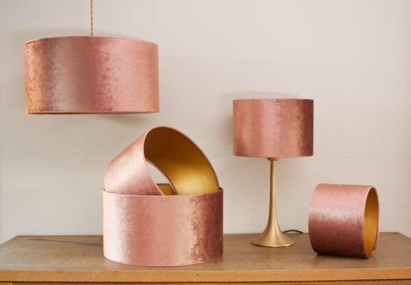 Fluweel cilinder lampenkappen, kleur glimmend oud roze