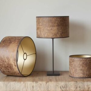 Cow leather cylinder lampshades laminated on a gold backing