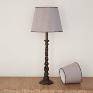 Empire lampshade with small checked grey fabric - Royans Grey 519