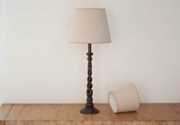Empire Lampenkap met kleine taupe ruitjes - Royans Taupe 210