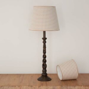 Empire lampshades in taupe checked fabric